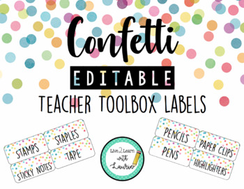 Confetti - Editable Teacher Toolbox Labels