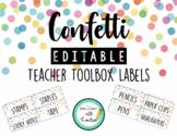 Confetti - Editable Teacher Toolbox Labels