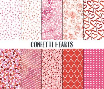 Valentine Digital Paper, Valentine Scrapbook Paper, Confetti Hearts