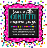 Colorful Confetti Labels, Signs and Posters *editable*