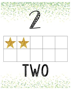 Confetti Number Line (green and gold)