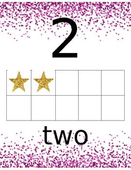 Confetti Number Line (pink and gold)