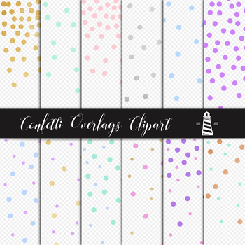 Confetti Overlays Clipart, Party Confetti Dots, Gold Foil & Colorful Dots
