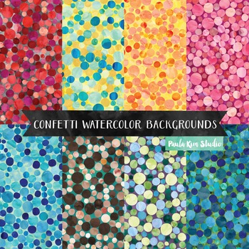 Confetti Polka Dot Watercolor Digital Paper