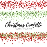 Confetti Red and Green Christmas Border Clipart