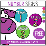 Confetti Round Table, Group, or Team Numbers FREEBIE