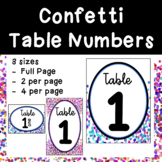 Confetti Table Numbers 1-10