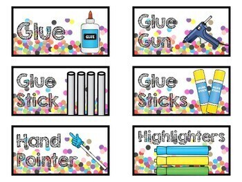 Confetti Teacher Toolbox Labels and Classroom Labels