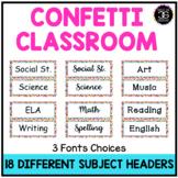 Confetti Theme Classroom Decor Daily Schedule Focus Wall S
