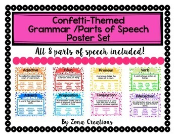 Confetti Themed Grammar Parts of Speech Poster Set