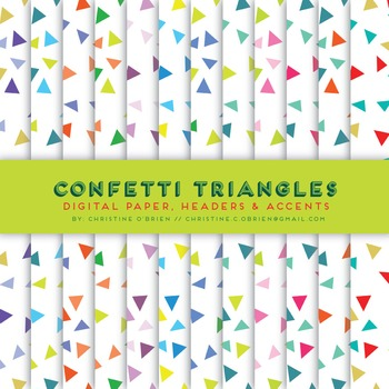 Confetti Triangles Digital Paper, Headers, and Accents Set