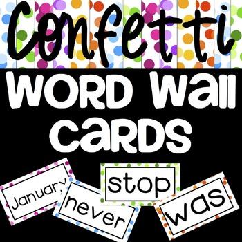 Word Wall Cards {Confetti} - Editable