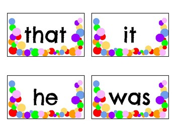 Confetti Word Wall: First Hundred