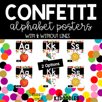 Confetti and Black Alphabet Posters