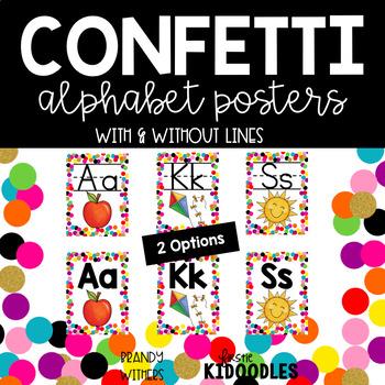Confetti and White Alphabet Posters
