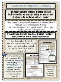 Confidence Builders Drawing Activities Bundle. No Prep Drawing Lesson.