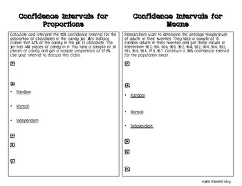 Confidence Intervals Notes