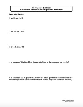 Confidence Intervals Worksheet Bundle