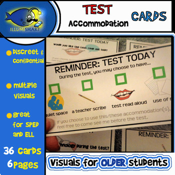 Confidential Test Accommodation Reminder Cards-6 Pages/36 Cards!