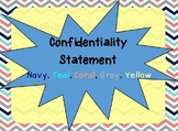 Confidentiality Notice in coral, navy, teal, gray, yellow