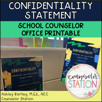 School Counselor Confidentiality Statement Poster Printable
