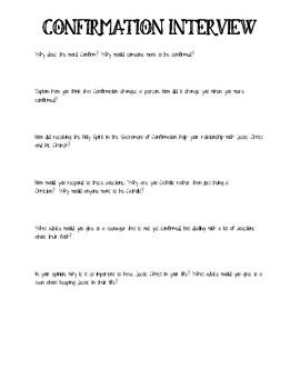 Confirmation Interview Worksheet