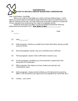 Confirmation Letter To Bishop Format Template By Mrslle Tpt