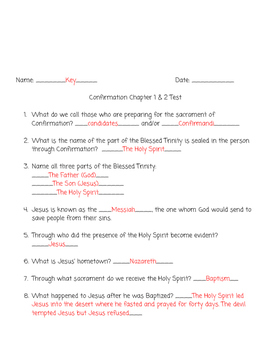 "Confirmation Test Ch 1 & 2 ""Inspired by the Spirit: Confirmation"""