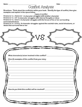 conflict analysis worksheet by teacher spot 39 s teacher resources tpt. Black Bedroom Furniture Sets. Home Design Ideas