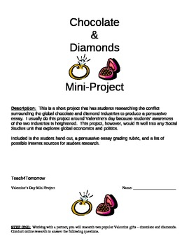 Conflict Chocolate & Blood Diamonds Project Persuasive Essay w/ Rubric