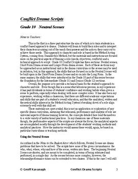 Conflict Drama- Grade 10 - Neutral Scenes