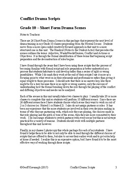 Conflict Drama - Grade 10 Short Conflict Scenes