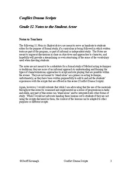 Grade 12  Notes to the Student Actor
