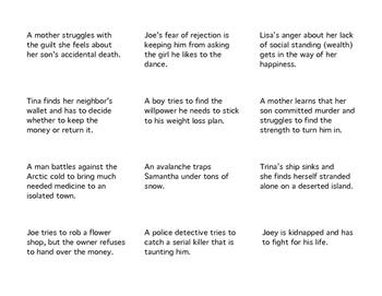 Types of Conflict Task Cards: Internal, External, Antagonist, Protagonist