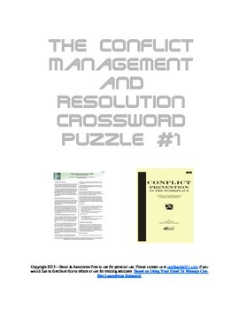 Conflict Management and Resolution Crossword Puzzle #1