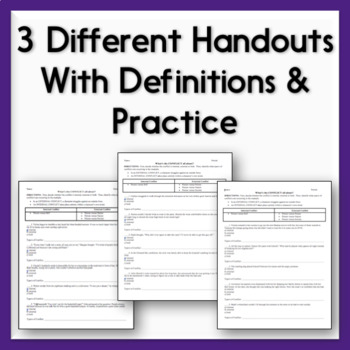 Conflict Practice Sheets - 3 Handouts on Internal & External Conflict