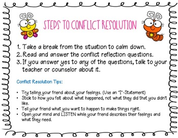 Conflict Resolution - Conflict Reflection Cards