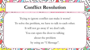 """Conflict Resolution """"I Message"""" Lesson  PBIS - Recess Queen w video & activitiy"""