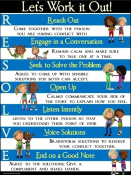Conflict Resolution Poster: RESOLVE- Let's Work it Out