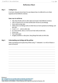 Conflict Resolution - Reflection Sheet