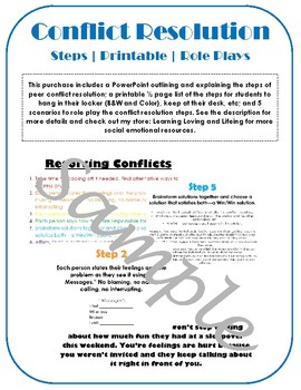 Conflict Resolution Steps; lesson + role play bundle; peer friendship kindness