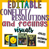 Conflict/Resolution and Feelings Posters (Editable)