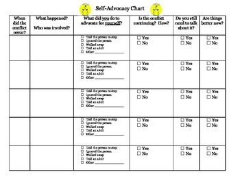 Conflict Self-Advocacy Chart for Student Completion