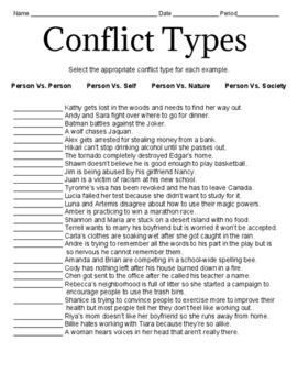 Conflict Type Worksheets
