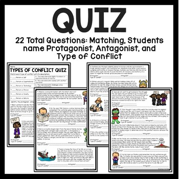 Conflict Types Tutorial Worksheets- Chart, Practice, Quiz, Remediation