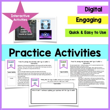 Conflict Types in Literature Mini Lesson Notes & Activity for Middle School RL3