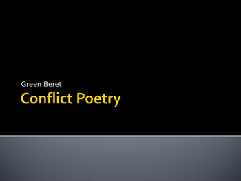 Conflict / War Poetry Resources