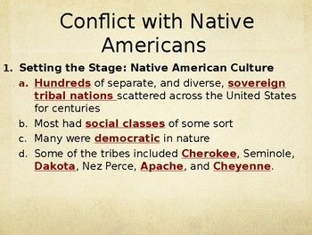 Conflict With Native Americans PowerPoint Lecture