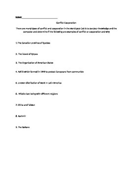 Conflict and Cooperation Worksheet