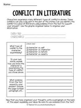 Conflict in Literature Graphic Organizer -- Works with any text!